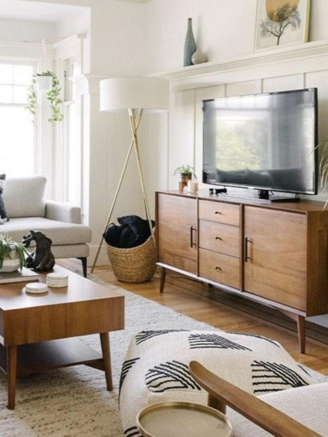 comment creer salon lumineux meuble bas tv style mid century sur mur peinture blanche
