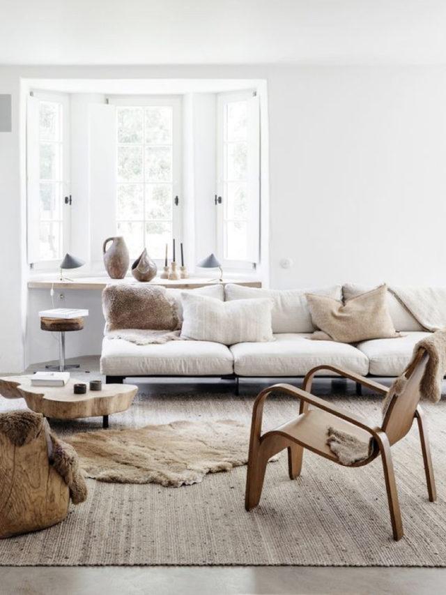 comment utiliser blanc pour decorer salon style slow moderne canapé bas et fauteuil design en bois
