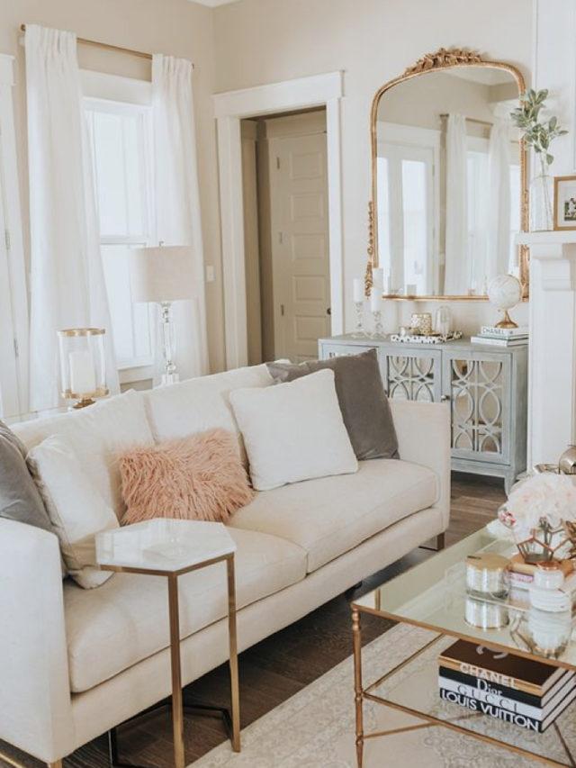 comment utiliser blanc pour decorer miroir doré détail laiton piétement décoratif