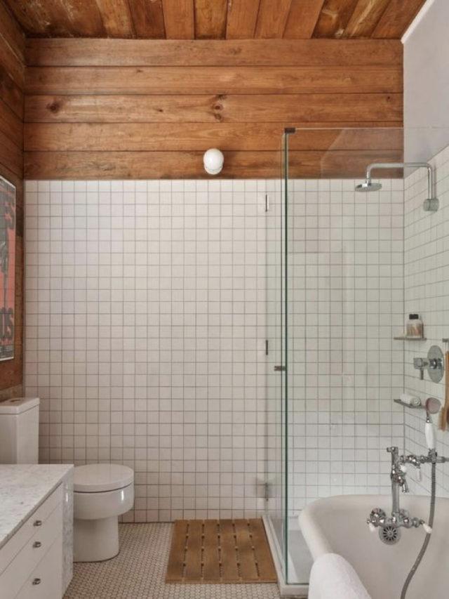comment utiliser blanc pour decorer carrelage blanc et lambris bois salle de bain