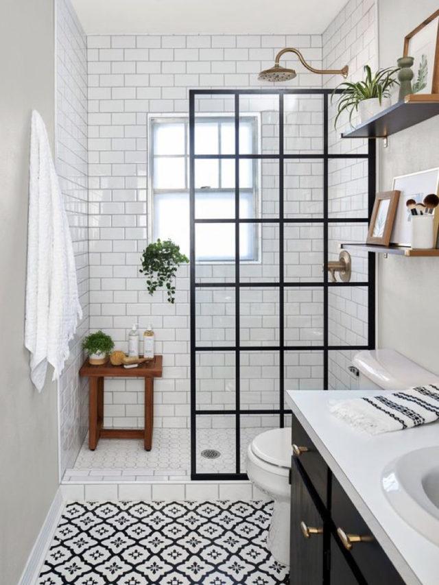comment utiliser blanc pour decorer carrelage et carreaux de ciment + verrière cloison de douche