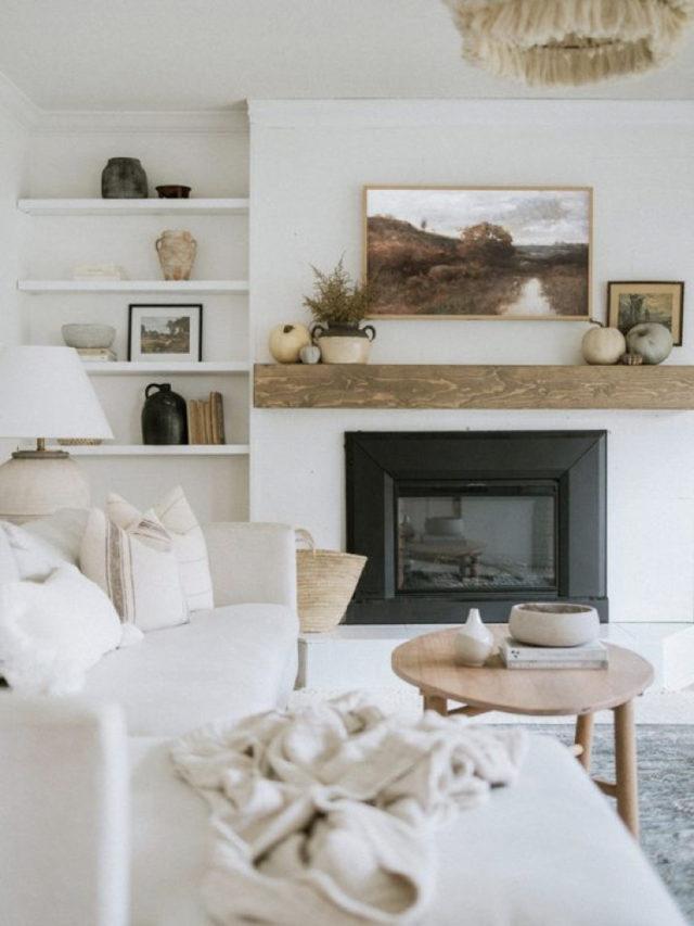 comment utiliser blanc pour decorer salon farmhouse campagne chic cheminée