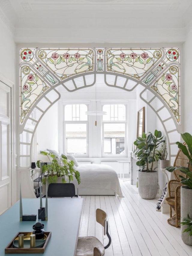 comment utiliser blanc pour decorer style classique chic vitraux art déco