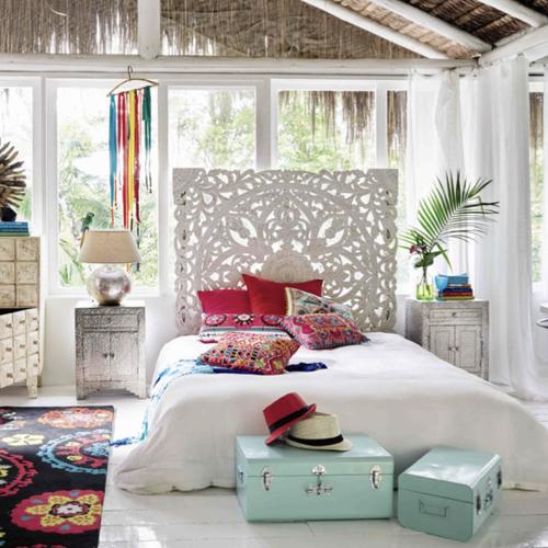 deco chambre blanc shopping tête de lit sculptée