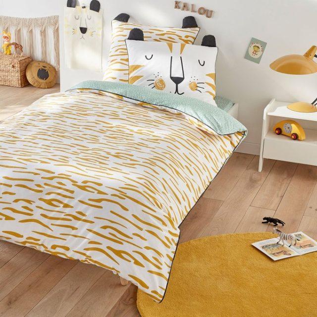 deco chambre enfant ecoresponsable parure lit lion