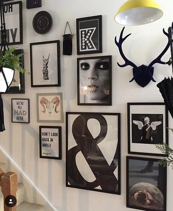 deco escaliers cadre muraux noir et blanc melange photo et illustrations