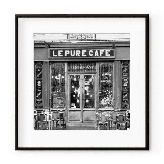 deco entree cadre affiche photo noir et blanc café parisien vintage