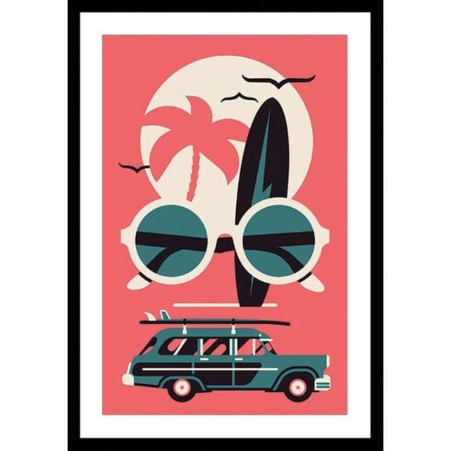 deco entree cadre affiche dessin illustration voyage vacances à encadrer plage surf