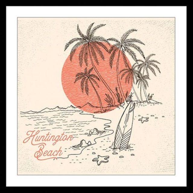 deco entree cadre affiche illustration encadree paysage vacances ete soleil mer planche surf