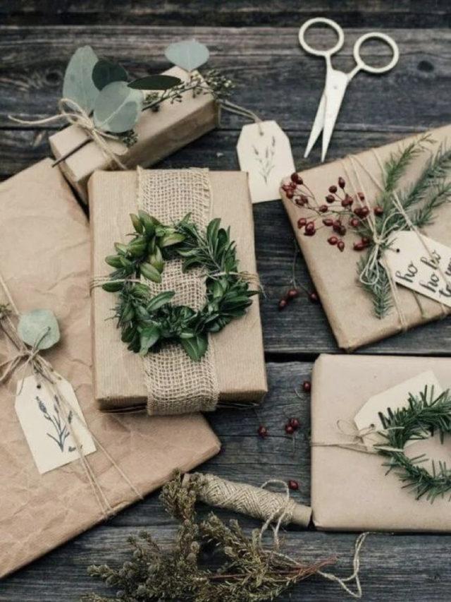 deco papier cadeau naturel caft et mini couronne de sapin