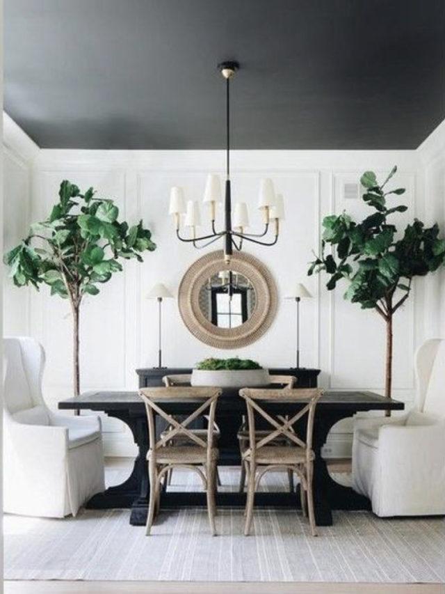 deco salle a manger blanche exemple plafond noir