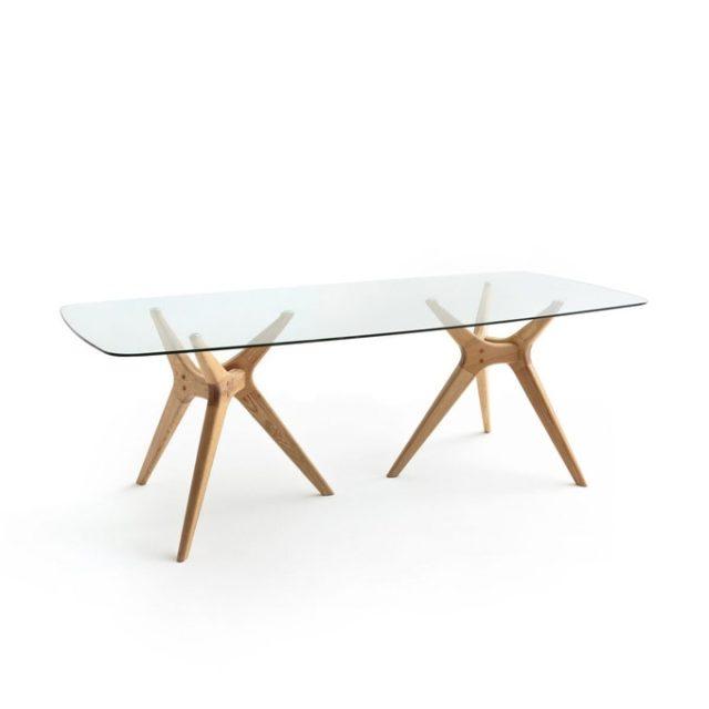 deco salon ecoresponsable la redoute table salle a manger chêne et verre
