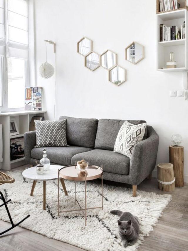 decoration blanc utilisation exemple petit salon moderne canapé gris chiné