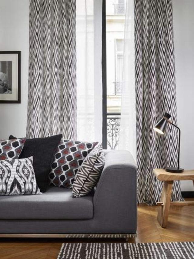 decoration blanc utilisation exemple salon séjour blanc rideaux motif