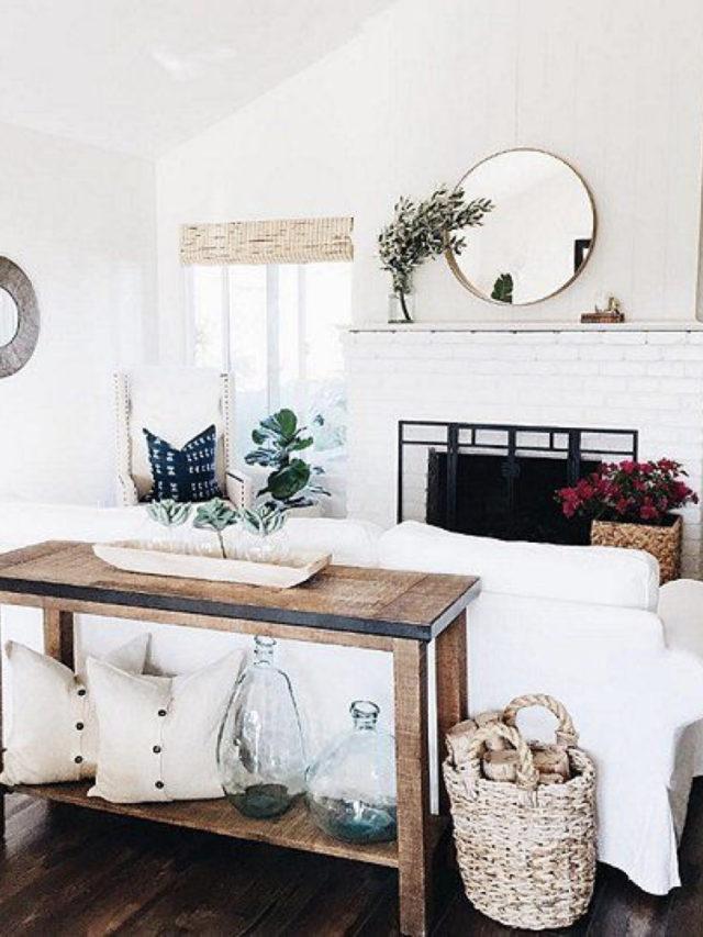 decoration blanc utilisation exemple console salon dos de canapé
