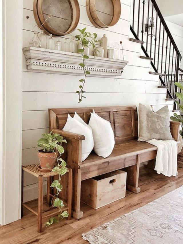 decoration blanc utilisation exemple entrée banc en bois style campagne chic