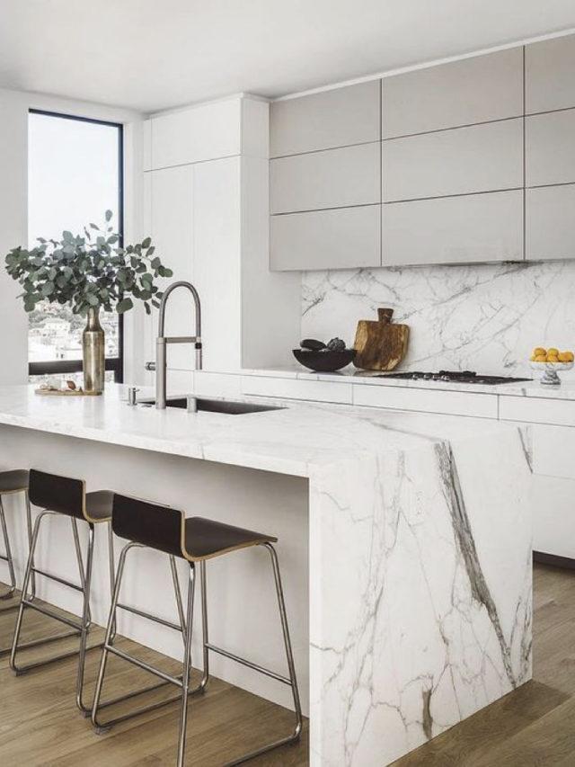 decoration blanc utilisation exemple marbre et meuble cuisine moderne