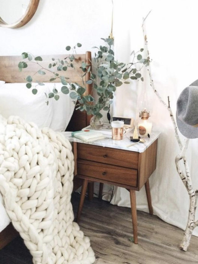 decoration chambre blanche exemple mobilier bois et eucalyptus deco plaid grosse maille