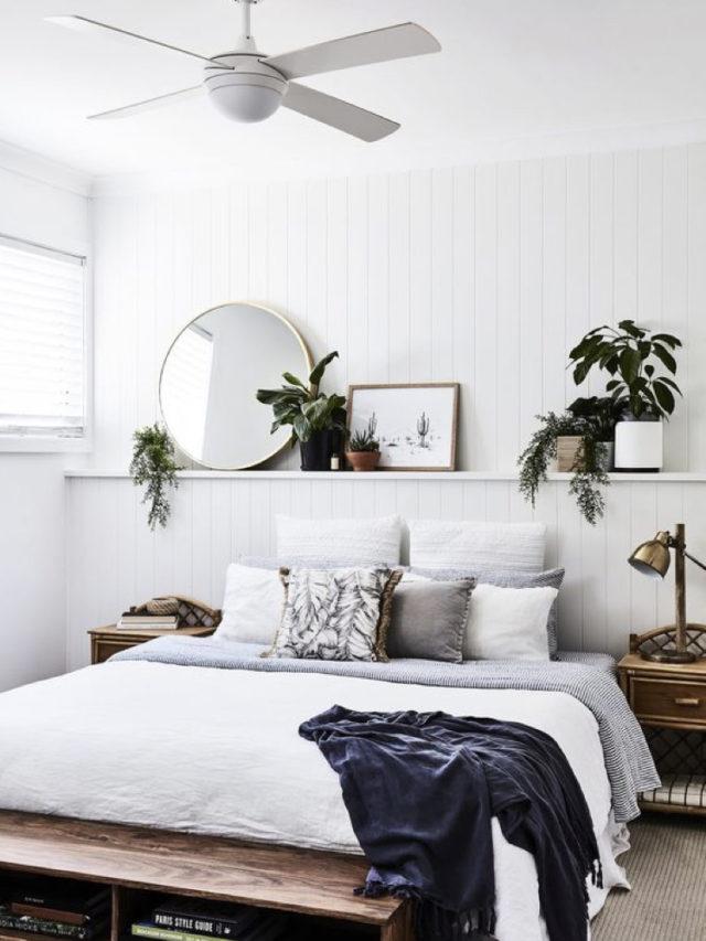 decoration chambre blanche exemple etagere miroir rond plantes vertes