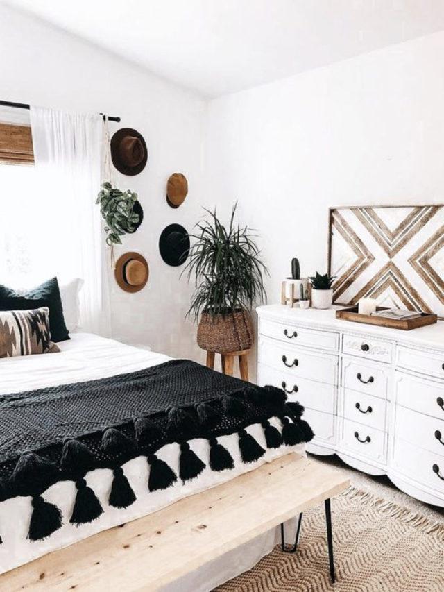decoration chambre blanche exemple boho chic plaid et accessoires muraux