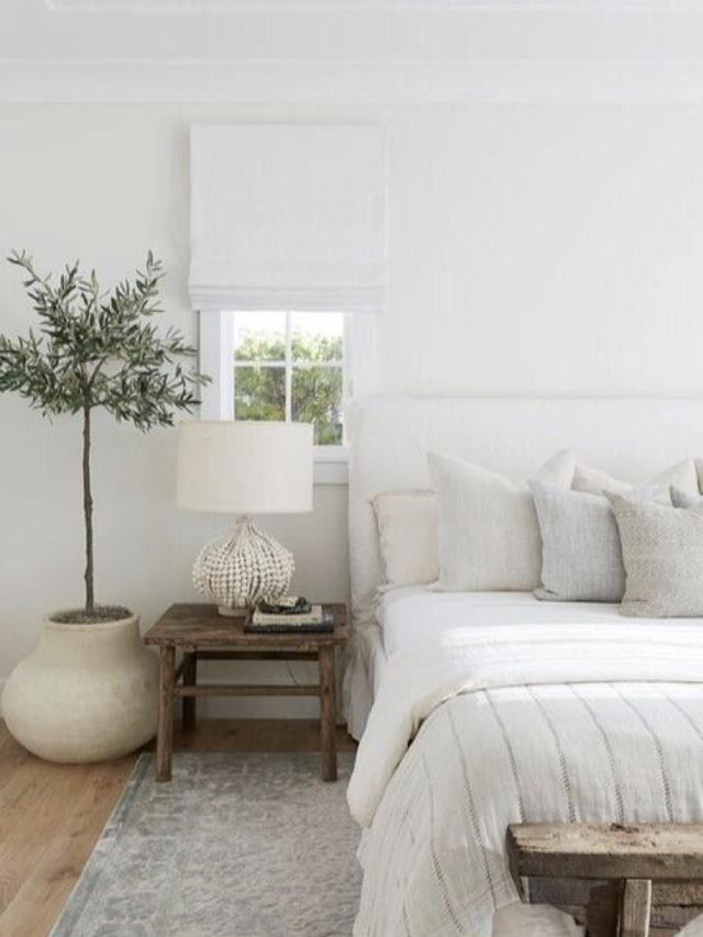 decoration chambre blanche exemple classique chic et naturelle