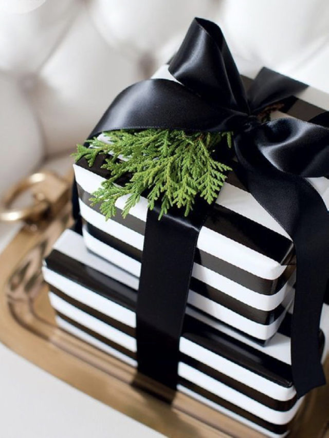 emballage cadeau elegant exemple noir et blanc a rayure