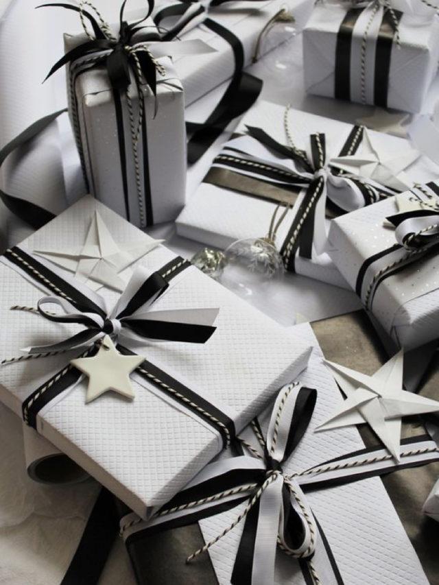 emballage cadeau elegant exemple blanc detail noir