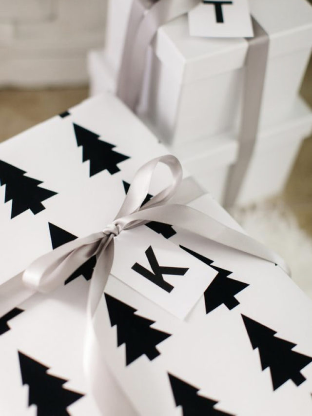 emballage cadeau elegant exemple blanc sapin noir contraste