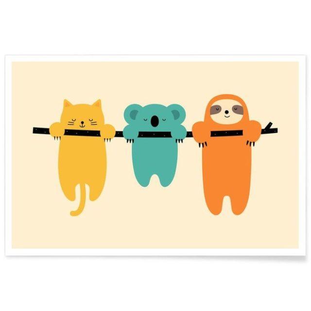 enfant cadeau noel deco affiche illustree animaux