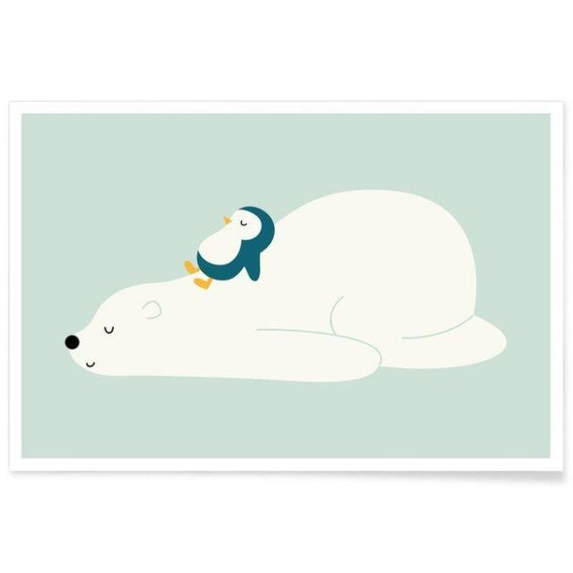 enfant cadeau noel deco poster illustre our blanc