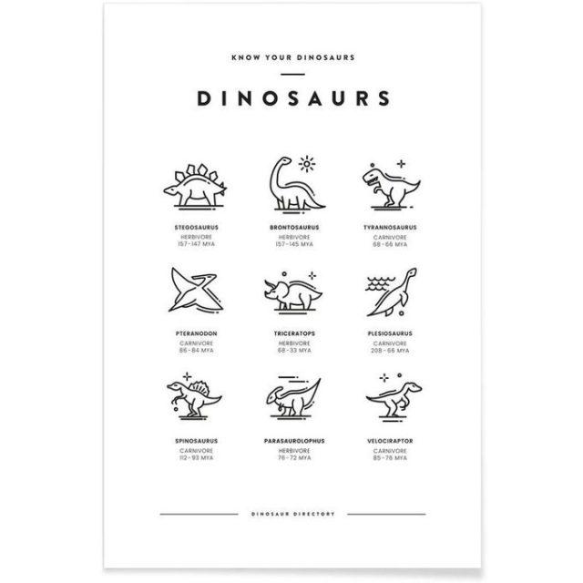 enfant cadeau noel deco poster affiche dinosaure