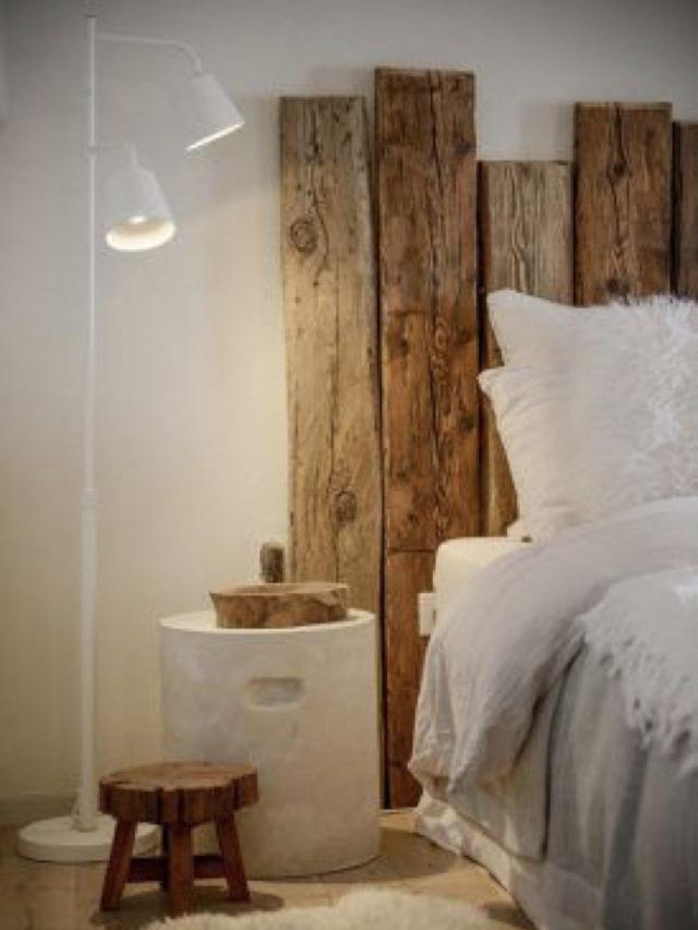 exemple decoration chambre blanche moderne tete de lit recup palettes bois diy