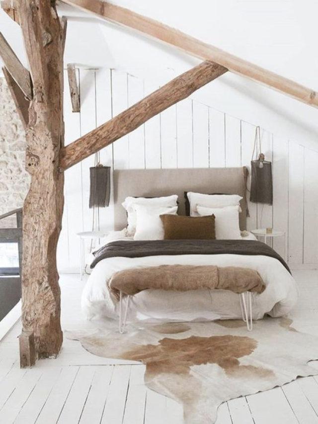 exemple decoration chambre blanche moderne combles mansarde charpente lambris bois