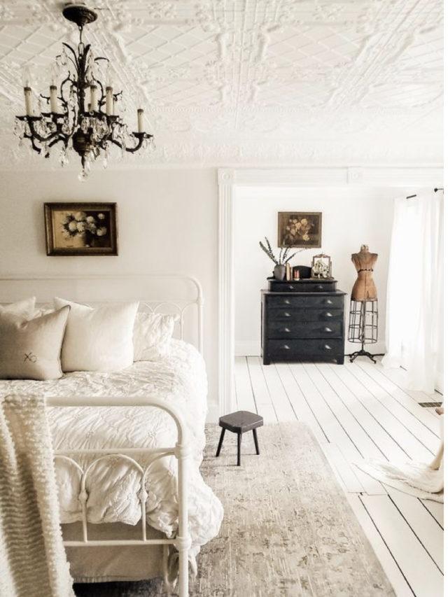 exemple decoration chambre blanche moderne ambiance classique chaleureuse et claire
