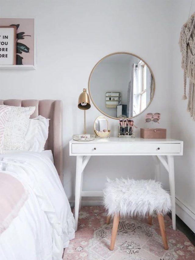 exemple decoration chambre blanche moderne coiffeuse miroir rond tete de lit velours rose