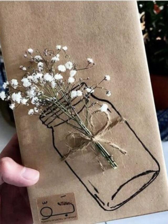 exemple papier cadeau recyclé dessin papier craft