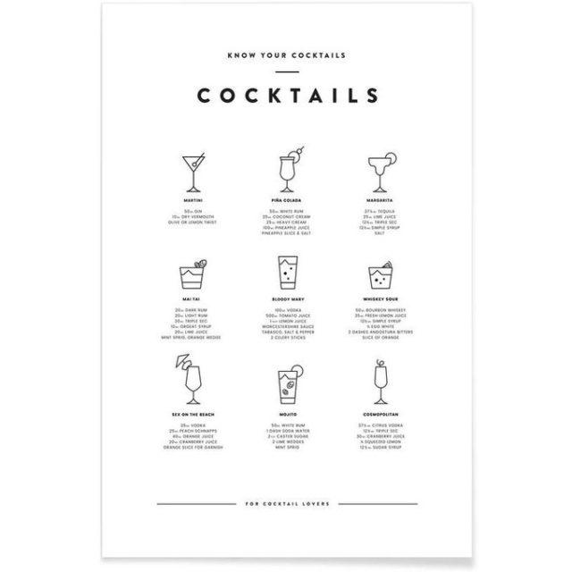 fan apero cadeau noel deco poster cocktail noir et blanc