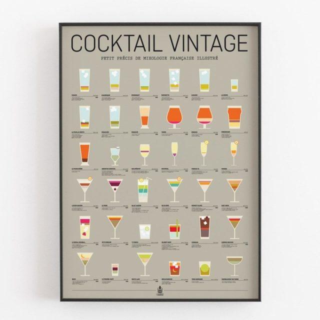 fan apero cadeau noel deco poster cocktail couleur