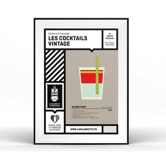 fan apero cadeau noel deco poster cocktail vintage