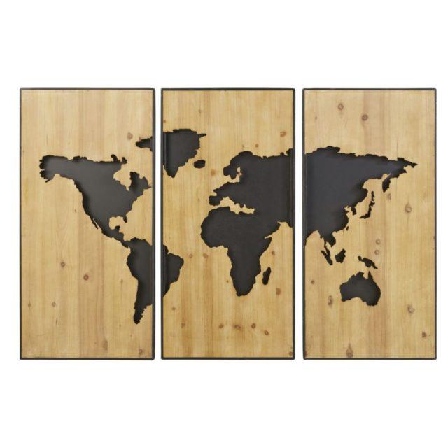 noel cadeau deco 1e appart maisons du monde deco murale planisphère bois