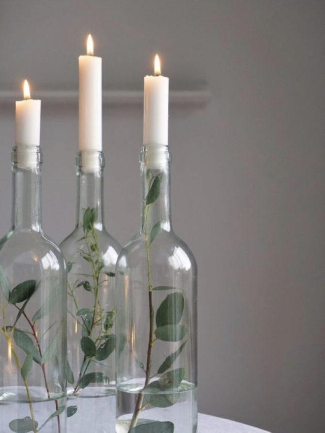 noel idee a copier eucalyptus bouteille récup bougie