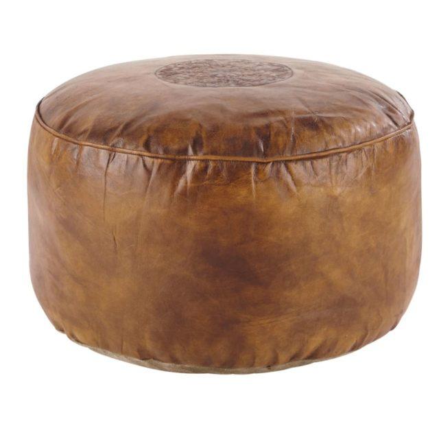 offrir mobilier deco noel pouf en cuir rond