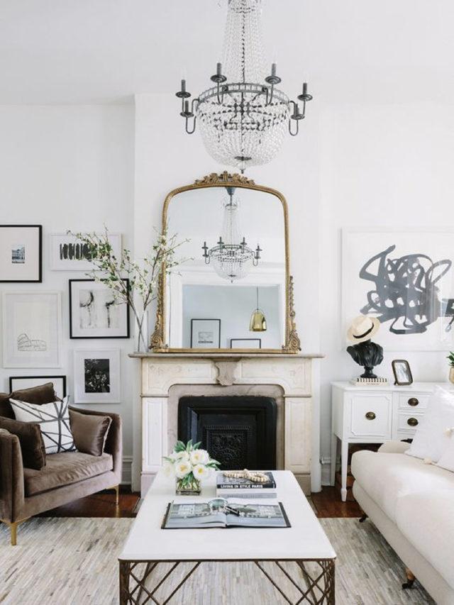 ou mettre miroir salon lumiere cheminée classique chic + peinture blanche
