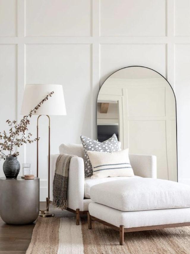 ou mettre miroir salon lumiere ambiance classique chic et élégante