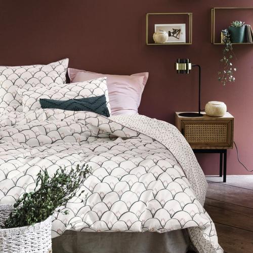 ou trouver deco blanche chambre parure de lit motif moderne