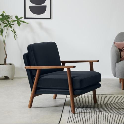 ou trouver fauteuil annee 50 bleu bois sombre