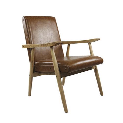 ou trouver fauteuil annee 50 cuir naturel