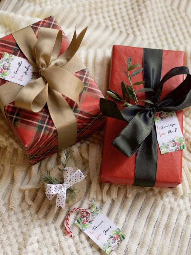 paquet cadeau coloré exemple rouge et tartan