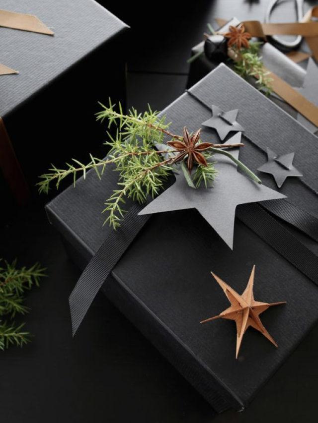 paquet cadeau elegant noir exemple ton sur ton