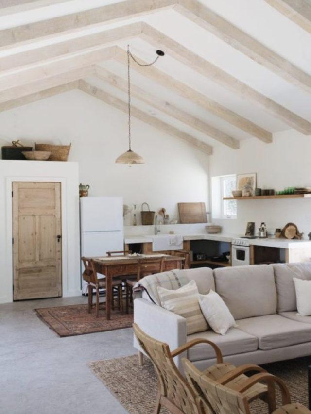 quel style salon lumineux séjour ouvert charpente toiture style slow intérieur